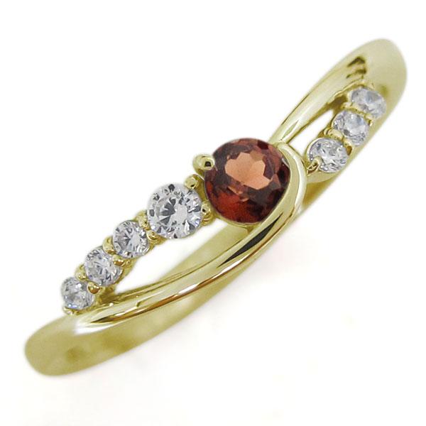 18金 ガーネット レディースリング 婚約指輪 シンプル 誕生石 母の日 プレゼント