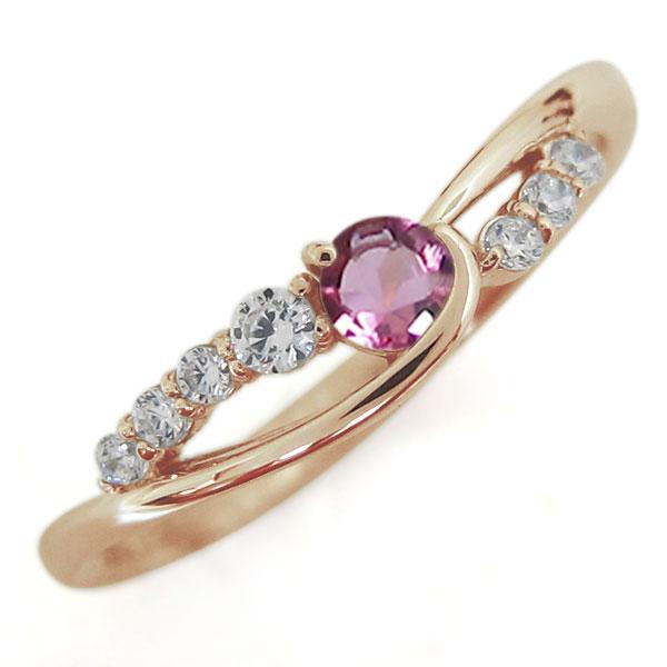 ピンクトルマリンリング 婚約指輪 誕生石 10金 シンプルリング