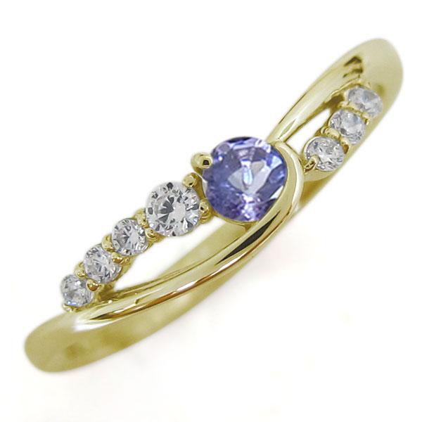 【10%OFF】4日20時~ 18金 タンザナイト レディースリング 指輪 シンプル 誕生石 母の日 プレゼント