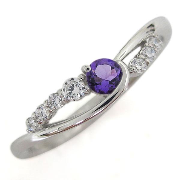 誕生石 プラチナ アメジスト レディース 指輪 シンプルリング 母の日 プレゼント