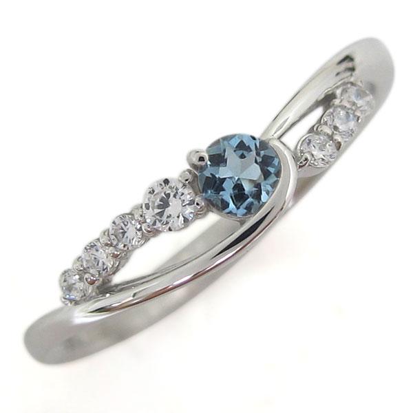 誕生石 プラチナ アクアマリンサンタマリア レディース 指輪 シンプルリング 母の日 プレゼント