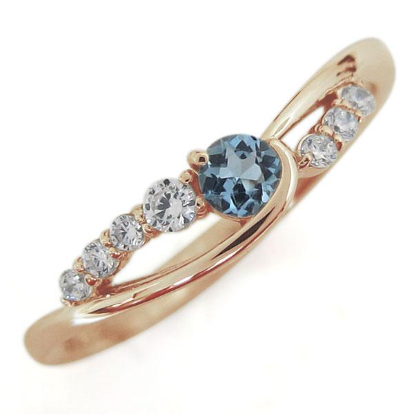 アクアマリンサンタマリアリング 婚約指輪 誕生石 10金 シンプルリング