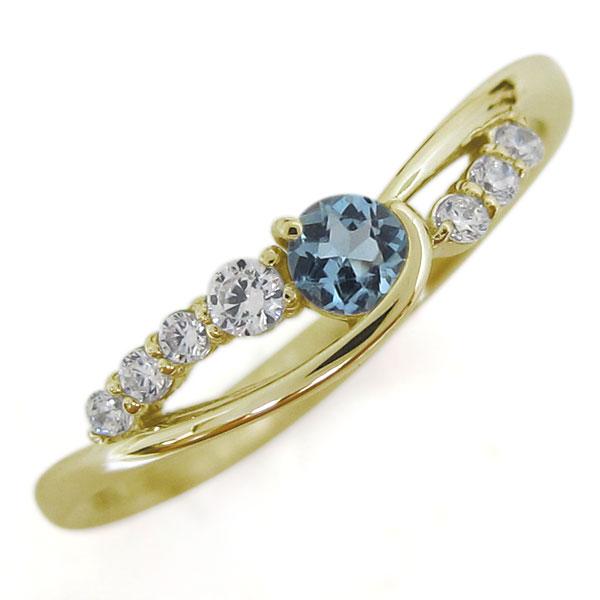 18金 アクアマリンサンタマリア レディースリング 婚約指輪 シンプル 誕生石 母の日 プレゼント