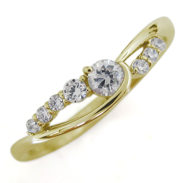 18金 ダイヤモンド レディースリング 指輪 シンプル 誕生石 母の日 プレゼント
