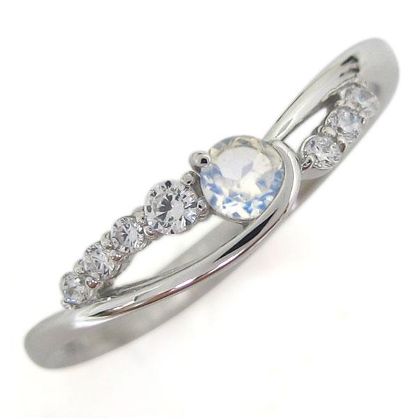 誕生石 プラチナ ロイヤルブルームーンストーン レディース 指輪 シンプルリング 母の日 プレゼント