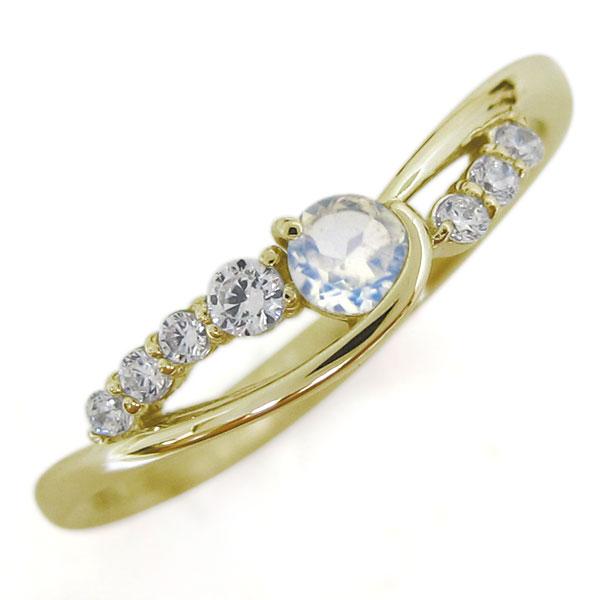 18金 ロイヤルブルームーンストーン レディースリング 指輪 シンプル 誕生石 ホワイトデー プレゼント