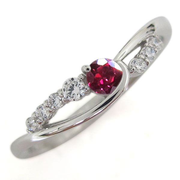 誕生石 プラチナ ルビー レディース 指輪 シンプルリング 母の日 プレゼント