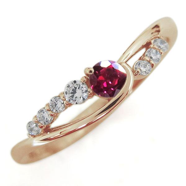 ルビーリング 指輪 誕生石 10金 シンプルリング