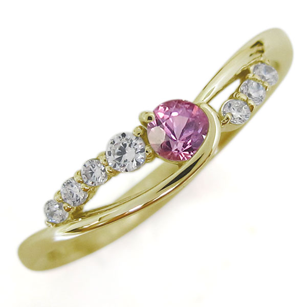 18金 ピンクサファイア レディースリング 指輪 シンプル 誕生石 ホワイトデー プレゼント
