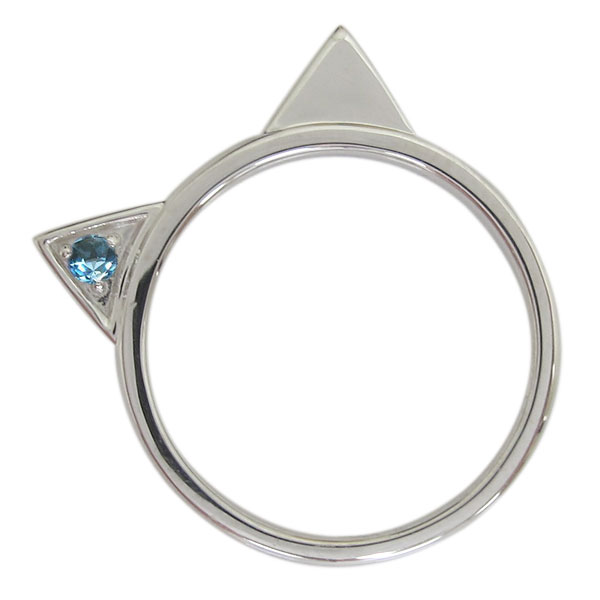 プラチナ レディース 指輪 ネコリング ブルートパーズ 猫 母の日 プレゼント