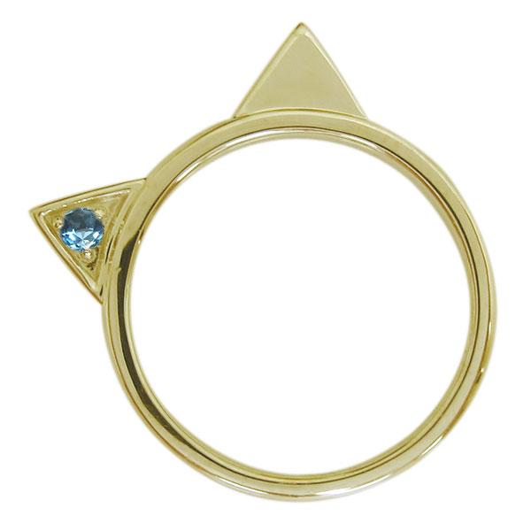 10金 指輪 ブルートパーズリング 猫 ネコリング レディース 母の日 プレゼント