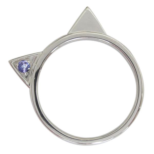 プラチナ レディース 指輪 ネコリング タンザナイト 猫 ホワイトデー プレゼント