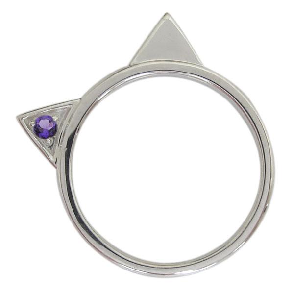 プラチナ レディース 指輪 ネコリング アメジスト 猫 ホワイトデー プレゼント