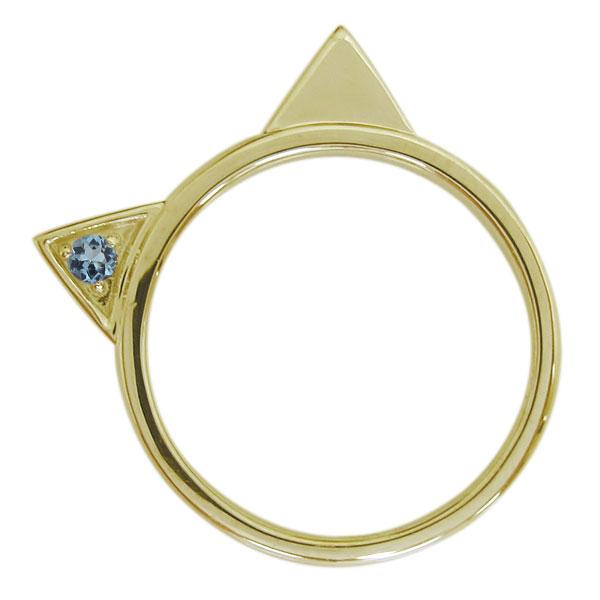 10金 指輪 アクアマリンサンタマリアリング 猫 ネコリング レディース 母の日 プレゼント