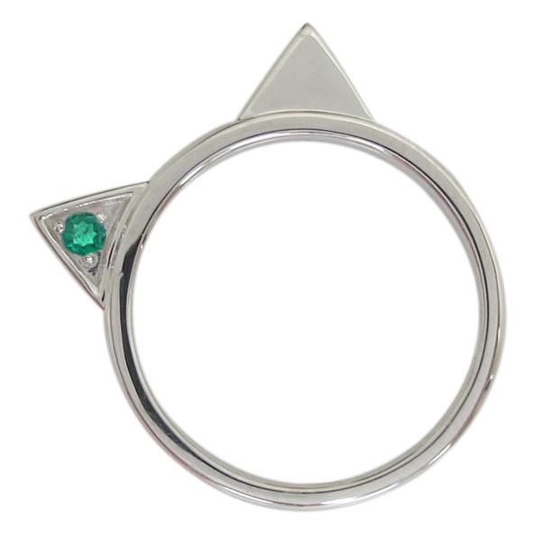 プラチナ レディース 指輪 ネコリング エメラルド 猫 母の日 プレゼント