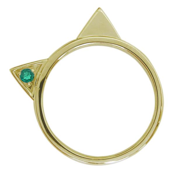 10金 指輪 エメラルドリング 猫 ネコリング レディース 母の日 プレゼント