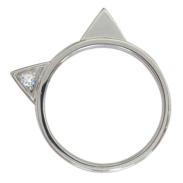 プラチナ レディース 指輪 ネコリング ロイヤルブルームーンストーン 猫 母の日 プレゼント
