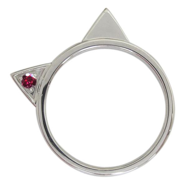 プラチナ レディース 指輪 ネコリング ルビー 猫 ホワイトデー プレゼント