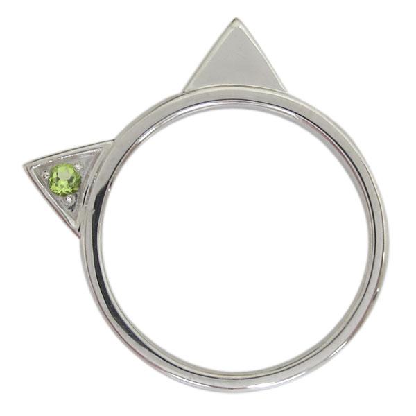 プラチナ レディース 指輪 ネコリング ペリドット 猫 母の日 プレゼント