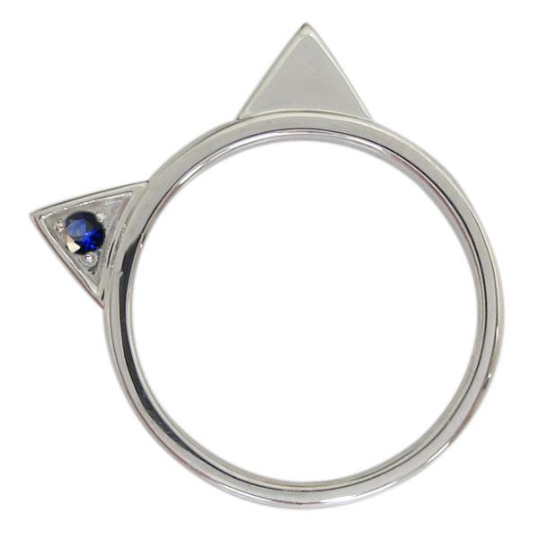 9日20時~ プラチナ レディース 指輪 ネコリング サファイア 猫 クリスマス プレゼント