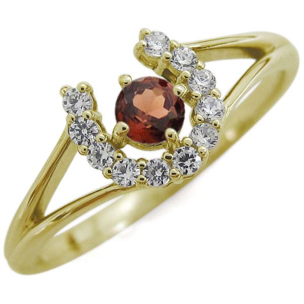 ガーネット 馬蹄リング ホースシュー リング K18 指輪