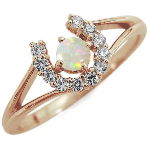 K10 ホースシュー リング オパール 馬蹄 10月誕生石 指輪