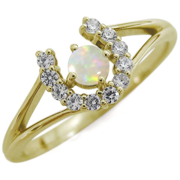 オパール 馬蹄リング ホースシュー リング K18 指輪
