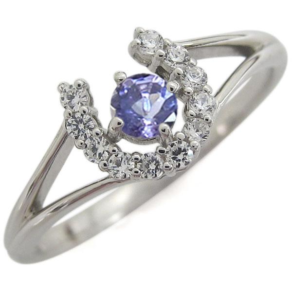 プラチナ ホースシュー 馬蹄 リング 指輪 タンザナイトリング
