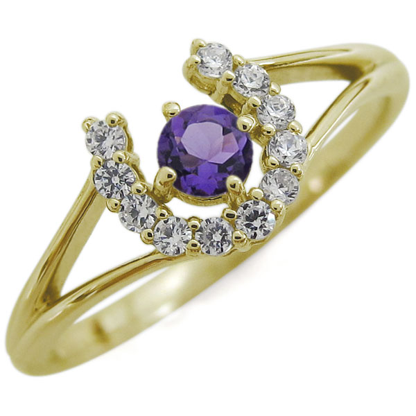 指輪 レディース おしゃれ 馬蹄リング 18金 ホースシュー 誕生石 母の日 プレゼント