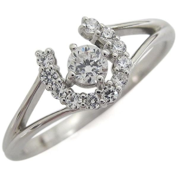1日限定【10%OFFクーポン&P2倍】 プラチナ ホースシュー 馬蹄 リング 指輪 ダイヤモンドリング