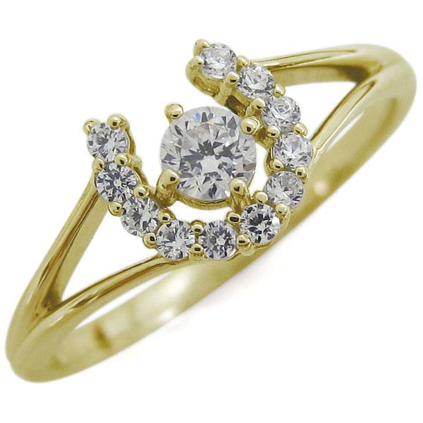 【10%OFF】4日20時~ ダイヤモンド 馬蹄リング ホースシュー リング K18 指輪