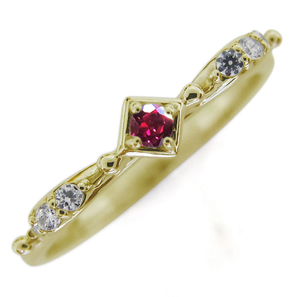 ルビー レディースリング 弓矢 K18 指輪 母の日 プレゼント