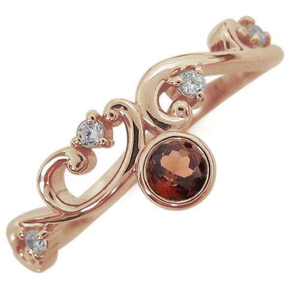 1月誕生石 ガーネット 唐草リング レディース 指輪 K18 母の日 プレゼント