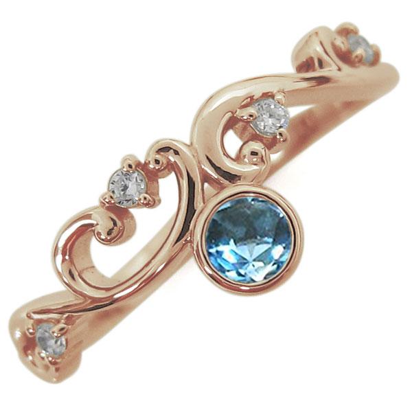 11月誕生石 ブルートパーズ 唐草リング レディース 指輪 K18 母の日 プレゼント