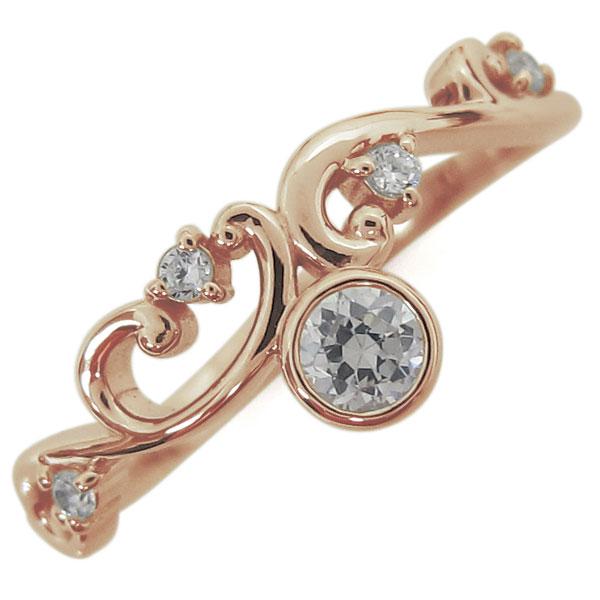 4月誕生石 ダイヤモンド 唐草リング レディース 指輪 K18 母の日 プレゼント