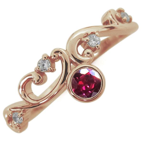 7月誕生石 ルビー 唐草リング レディース 指輪 K18 母の日 プレゼント