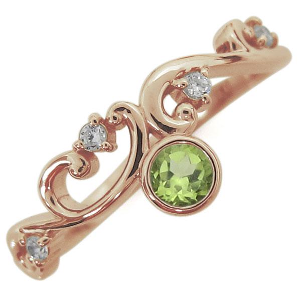 8月誕生石 ペリドット 唐草リング レディース 指輪 K18 母の日 プレゼント