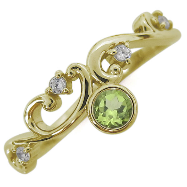 【10%OFFクーポン】5日23:59迄 10金 ペリドットリング レディース 指輪 アラベスク 母の日 プレゼント