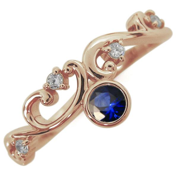 9月誕生石 サファイア 唐草リング レディース 婚約指輪 K18 母の日 プレゼント