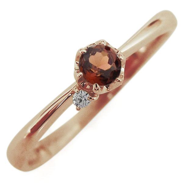 ガーネット リング 10金 レディースリング 一粒 指輪 母の日 プレゼント