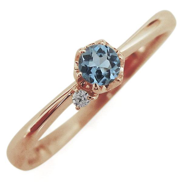 レディース リング アクアマリン 指輪 10金リング 一粒 母の日 プレゼント