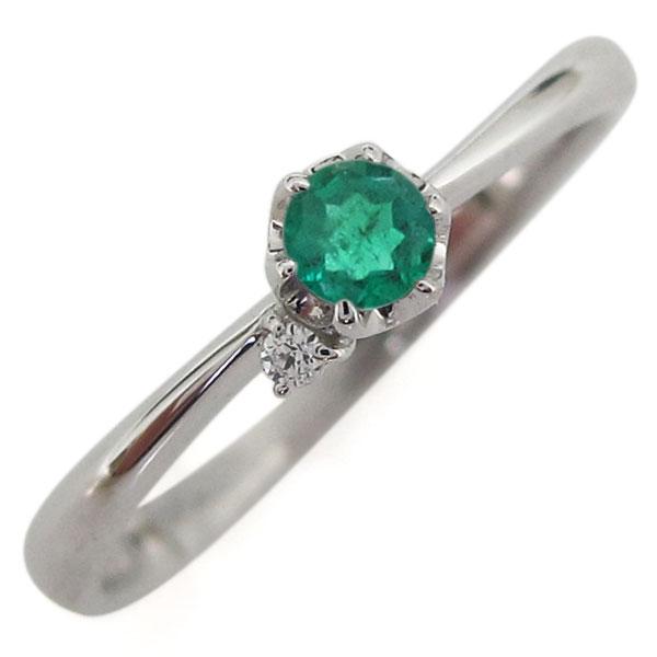 プラチナ 5月誕生石 エメラルド 指輪 シンプル リング