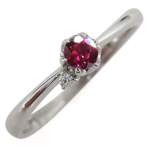 プラチナ 7月誕生石 ルビー 指輪 シンプル リング