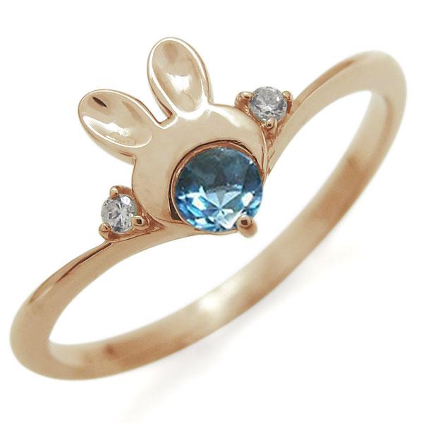 指輪 レディース おしゃれ 18金 ウサギ ブルートパーズ ラビット V字リング 母の日 プレゼント