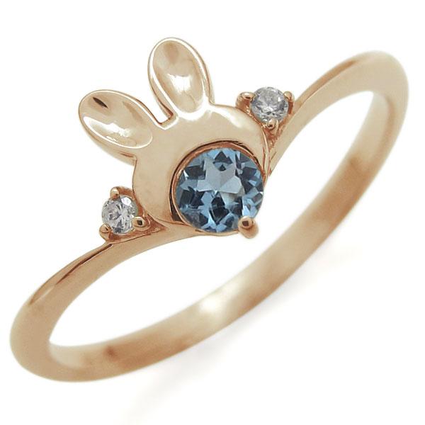指輪 レディース おしゃれ 18金 ウサギ アクアマリンサンタマリア ラビット V字リング 母の日 プレゼント