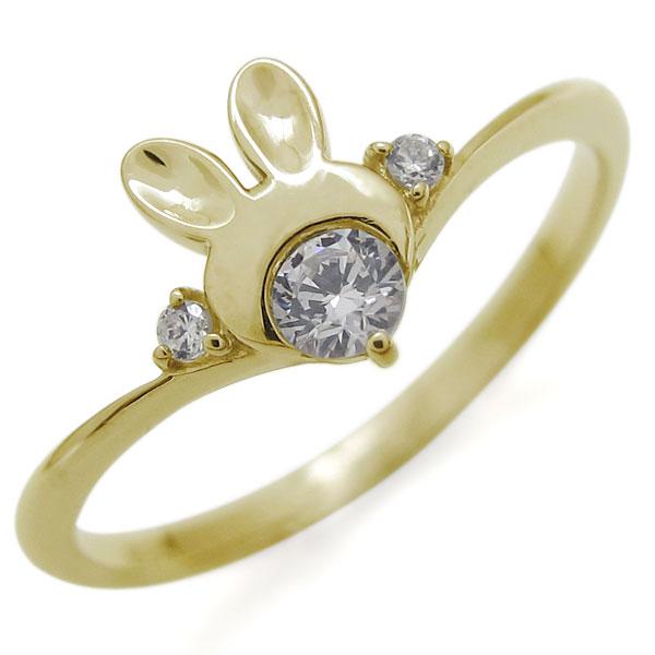 うさぎモチーフ ダイヤモンド リング 10金 V字 ラビット 兎 指輪