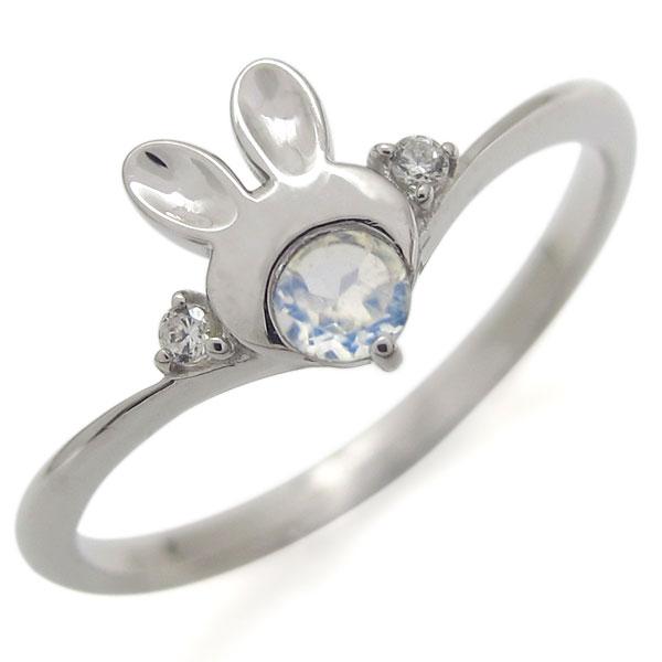 プラチナ 兎 うさぎリング ロイヤルブルームーンストーン ラビット 婚約指輪