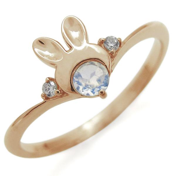 指輪 レディース おしゃれ 18金 ウサギ ロイヤルブルームーンストーン ラビット V字リング 母の日 プレゼント