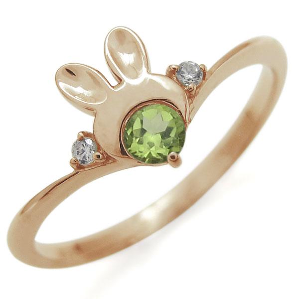 指輪 レディース おしゃれ 18金 ウサギ ペリドット 婚約ラビット V字リング 母の日 プレゼント