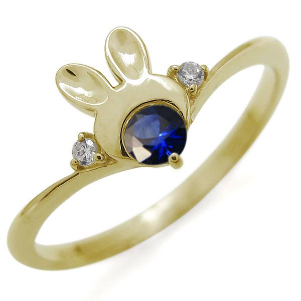指輪 レディース おしゃれ K18 V字 ウサギリング 動物リング 誕生石 母の日 プレゼント